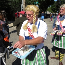 The Lindberger Princesses left a pungent taste in the mouths of all who approached during the Willy Street Fair Parade, September 14, 2014.
