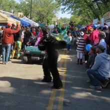 The dancing gorilla makes an appearance during each parade, marching with Hoopelation.