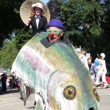The ubiquitous talking trout kept begging for worms during the Willy Street Fair Parade, September 14, 2014.