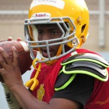 Datrell Thompson is on JV this year but is already turning heads with his abilities at quarterback and running back. East High School Football returns to Breese Stevens Field, absent since 1975, with a scrimmage on August 8, 2015.