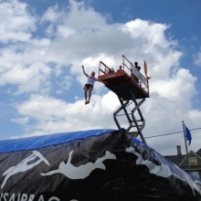 FruitFest attendees could jump from a scissor lift onto a huge airbag, inflated in the Struck & Irwin Fence parking lot.