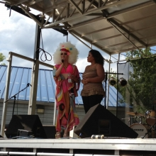 A Karaoke contest entitled Start Fruit Idol was held and included some very talented entrants like Jasmine (left) who speaks with host Miss Divina Double D de Ville.