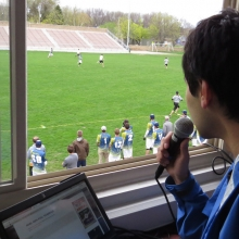 Games are live streamed using a camcorder, laptop and a play-by-play announcer.