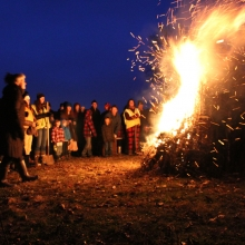 The Solstice bonfire gathers momentum during the 2015 Winter Solstice celebration at Olbrich Park on December 22, 2015.