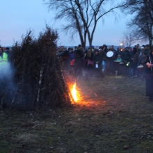 It took a few tries and some emphatic singing to get the bonfire to burn on it's own during the 2015 Winter Solstice celebration at Olbrich Park on December 22, 2015.