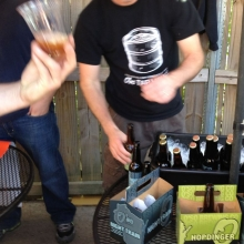 "O'so poured samples of their creamy and dark ""Night Train"" and pale ale ""Hopdinger""."