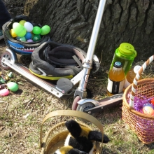 The tools of the trade. Razor, liquids, and the 21st century Easter basket, the bike helmet.