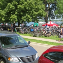 The legendary bike corral goes on for several hundred feet. Numerically, it was by far the largest form of transportation to the festival.