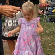 A young girl likes to dance to the blues during the Orton Park Festival on Sunday, August 26, 2012.
