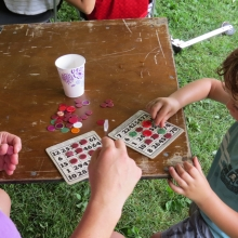 This young man is nearing the joyous moment of a bingo. Orton Park Festival, August 24, 2014