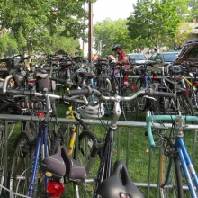 The most used form of transportation to the neighborhood summer festivals is bicycles. Orton Park Festival, August 24, 2014