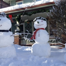 Residents in the 900 block of Jenifer took advantage of the wet snow during the storm and built this Snow Family. A day later on December 21, 2012 the stand strong in the brilliant  winter sun.