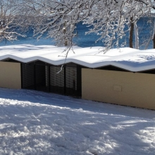 The unique roof of the B. B. Clarke Beach shelter collects a perfect layer of snow.