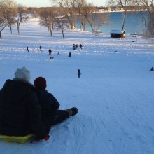 It did not take long for sledders on the Olbrich sledding hill to transform the 13.4 inches of fresh snow into a well groomed run.