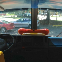 A view of the road from the Wienermobile.The actual controls are typical of a vehicle, so no automatic James Bond-like mustard sprayers to defeat soy-based rivals on the road.