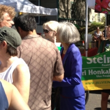 A Green Party Candidate stumps for votes.