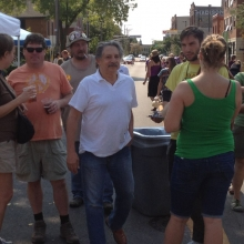Madison Mayor Paul Soglin takes in the Willy Street Fair.