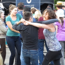 Salsa is king as attendees dance to Madisalsa at the Willy Street Fair, September 14, 2014.