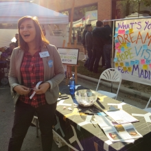 Mayoral Candidate Bridget Maniaci greets potential supporters at the Willy Street Fair, September 14, 2014.