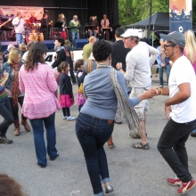 Dancers sway to day's final act, Madisalsa at the Willy Street Fair, September 14, 2014.