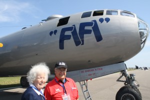 Former B-29 Pilot Dora Dougherty (left) and Lt. Col. George Hardy ret. a Tuskegee Airman flew the B-29 in Korea