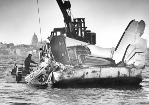 Wreckage of the plane that was carrying Otis Redding and his band is recovered from Lake Monona. Courtesy: Dipity.com