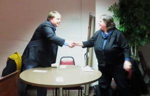 District 6 Alder Marsha Rummel Challenger Scott Thornton at candidate forum March 25, 2013