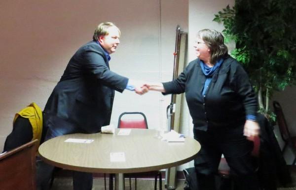 District 6 Alder Marsha Rummel (right) and Challenger Scott Thornton (left) following a candidate forum March 25, 2013