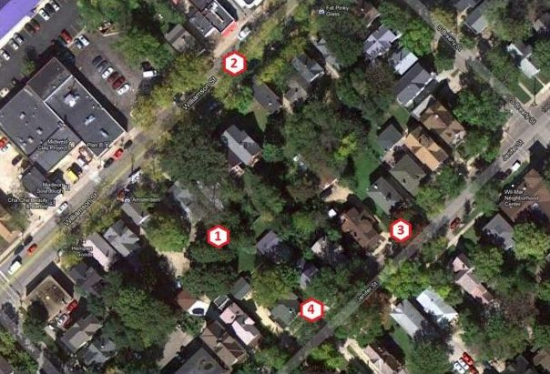 An overhead look at the affected block from the May 2012 sound study conducted by Acoustics By Design for Plan B to measure ordinance compliance. The numbers show where measurements were made. Plan B is to the left of the large parking lot on the upper left. The Guyot house is to the left of #3, the Lee-Skaggs and Gallo house are to the left of #4 respectively. Source: City of Madison