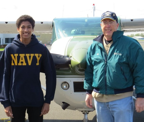Madison East High Senior Charles before his flight with Bob. Charles took classes from Erik Anderson and will join the Navy this summer.