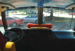 A view of the road from the Wienermobile.