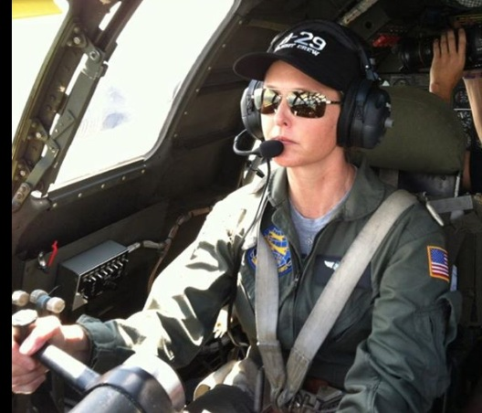 "Debbie King at the controls of ""FIFI"", the CAF's B-29. King is the first woman to qualify on the World War II bomber since 1944."