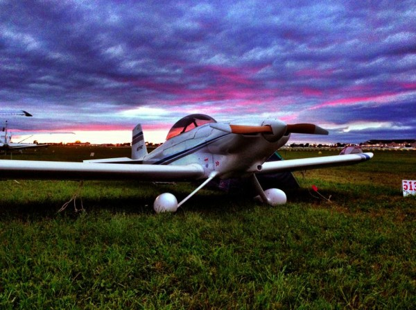 An RV-4 homebuilt settles in for its AirVenture visit. Builders and owners often camp with their planes.