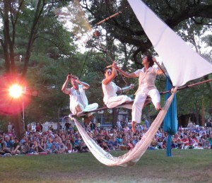 Luv Joy Seamon (center) and two other Cycropia performers during the opening act of Circus Quercus on Family Night at the Orton Park Festival, August, 23, 2013.