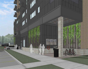 A rendering of the suggested bike station across from the Capitol City Trail. The parking ramp entrance is in the distance. Courtesy: Baldwin Development Group