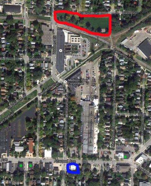 Neighbors worry alcohol purchased from the BP (blue square) will perpetuate public intoxication in Wirth Court Park (red outline). The green dots indicate other neary businesses that sell alcohol.