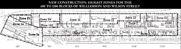 Each block in the Williamson Street BUILD Program II plan has zones that govern its future development or revitalization.