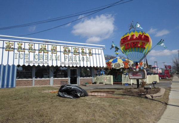 First tangible sign of spring? Ella's 1927 Parker Carousel is being prepared for the season.