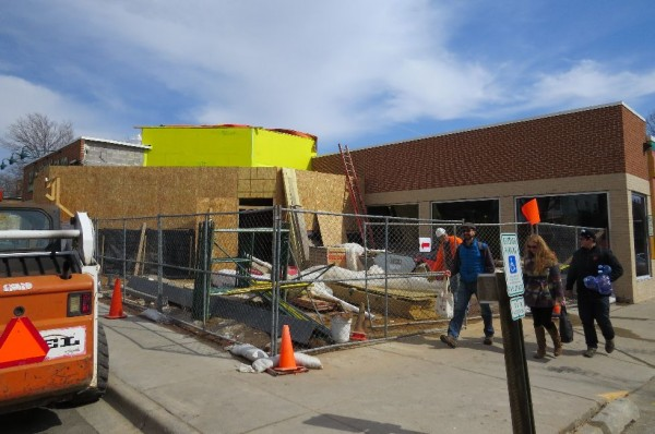 Work on the exterior of Willy East has been slowed by the extended cold this winter.