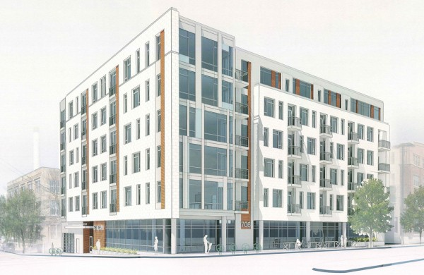 The proposed six-story multi-family and commercial development at 702 Williamson. Courtesy: The Rifkin Group, LTD.