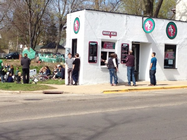 The makings of a public space, spurred on by the opening of Chocolate Shoppe Ice Cream's new Atwood Avenue location. Courtesy: Marsha Rummel
