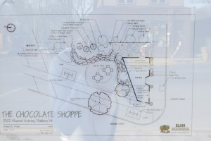 The planned Chocolate Shoppe outdoor dining room. The store received an easement from the city to build partially into the Capital City State Bike Trail right-of-way.