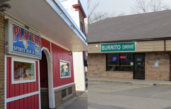 Players Sport Bar (left) and Burrito Drive were robbed recently through the same combination of guns and a chemical irritant sprayed on the victims.