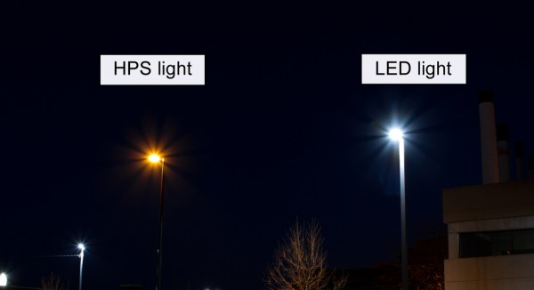 A comparison of the two styles of lights. The LED light will replace the HPS-style light. Courtesy: MG&E