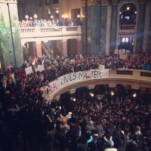 Nearly 1,500 students protest the Robinson shooting at the Wisconsin State Capitol, March 9, 2015. (Via twitter)