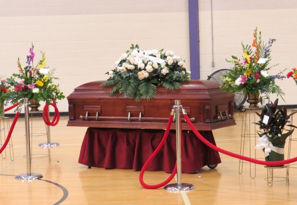 Tony Robinson's casket was placed just to the right of the stage. A visitation was held prior to the service.