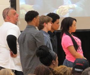Friends (left to right) Craig Spaulding, Elijah (last name unknown), Jack Spaulding, Jordan and name unkown) all spoke during the service.