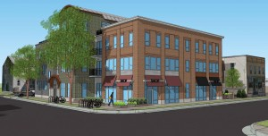 Developer Louis Fortis is seeking to build a four-story mixed-used building at the corner of Paterson and Willy Streets. Courtesy: Knothe-Bruce Architects