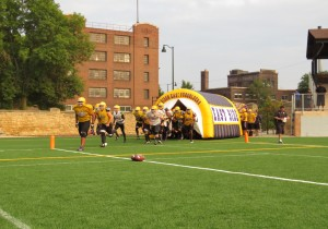 Purgolders practice taking the field on their home turf. Tonight (August 28) the do it for real