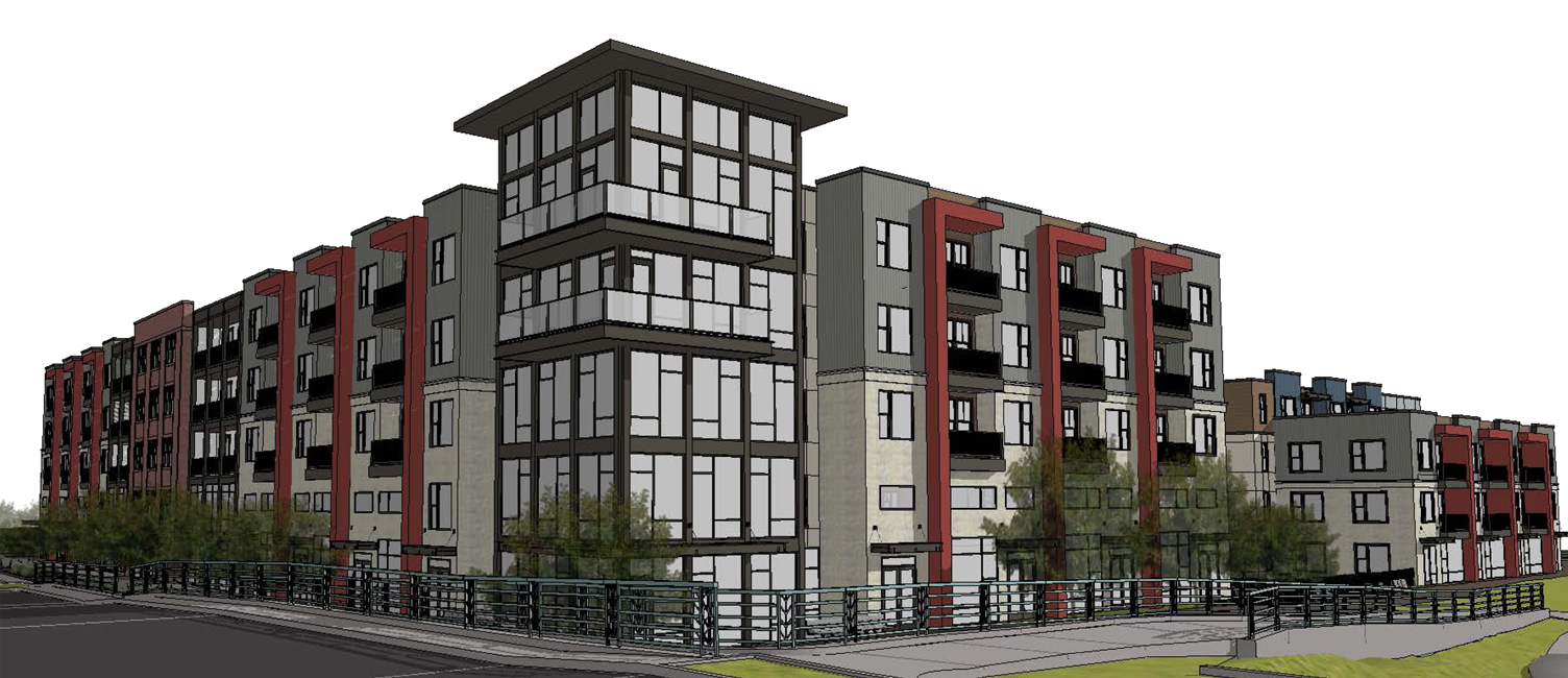 A view of the mixed-used development proposed for the Marling site at 1801 E. Washington Avenue.